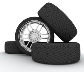 Car Wheels. Concept design. 3D render Illustration