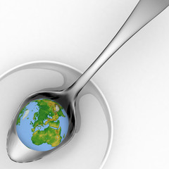 Blue earth on metal spoon. 3d render illustration