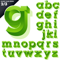 Vector alphabet of simple 3d glossy letters. Slab. Green