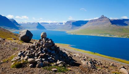 Beautiful Icelandic Vibrant Summer Landscape with Fjord, Isafjor