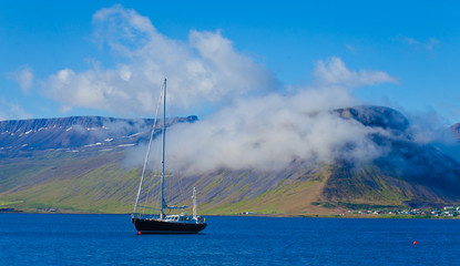 Beautiful Icelandic Vibrant Summer Landscape with Fjord, Isafjor