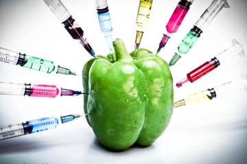 gmo vegetable - sweet pepper surrounded by syringes