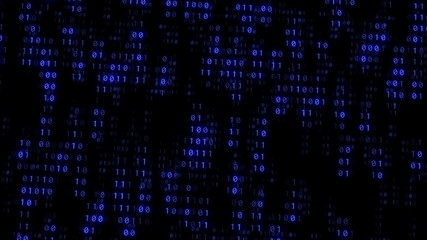 Binary Matrix Wall Blue Background
