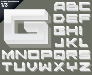 Vector alphabet of simple 3d glossy letters. Techno. White