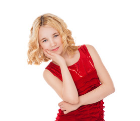 beautiful blonde little girl wearing red dress