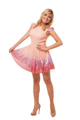 beautiful blonde woman wearing pink dress and shoes