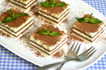 Sour cream jelly with cocoa.