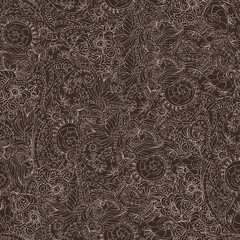Ornamental seamless pattern dark