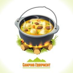 Camping symbol food pot