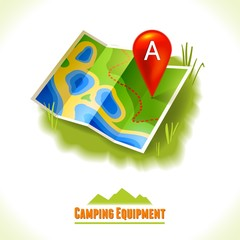 Camping symbol travel map