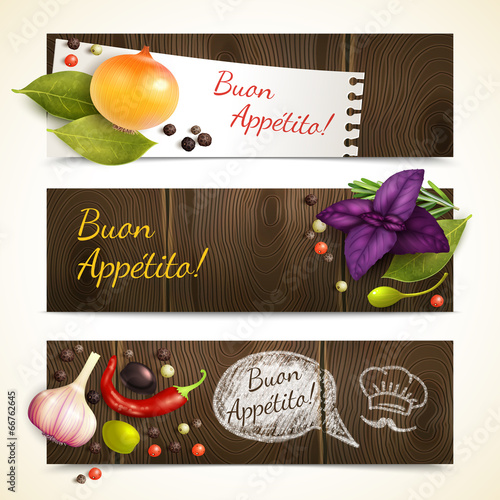 Herbs and spices banners horizontal