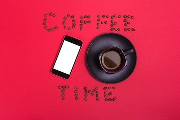 Smart phone and coffee cup coffee time concept