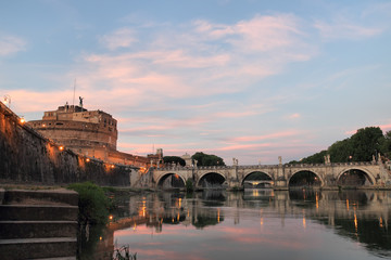 Sunset over mausoleum of Hadrian, Rome, Italy