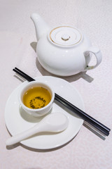 White Cup of tea with teapot on the table