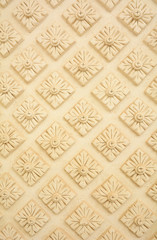 Thai style decorative flora pattern molding on wall