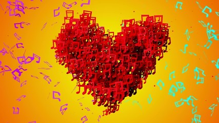 Red Love Musical Note Particles Loop Animation Orange Background
