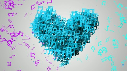 Blue Love Musical Note Particles Loop Animation