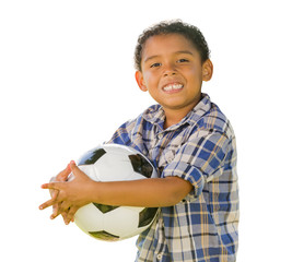 Mixed Race Boy Holding Soccer Ball on White