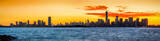 Fototapety Panorama with Jersey City and New York at sunrise