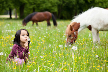 Little Asian girl in the park and horses