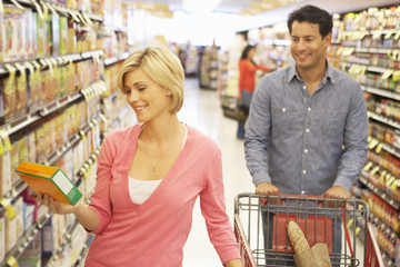 Couple shopping in supermarket