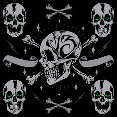 Skulls Bone Cross and Ribbon Old school Style