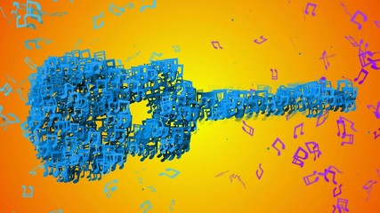 Blue Guitar Musical Note Particles Loop Animation