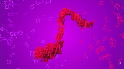 Red Musical Note Particles Loop Animation VJ Purple Background