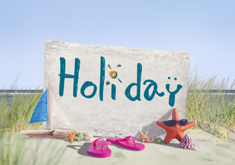 Holiday Signboard and Summer Props on Beach