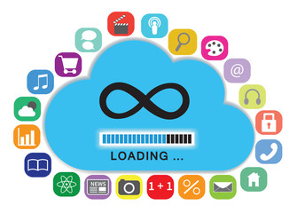 Cloud computing with apps concept