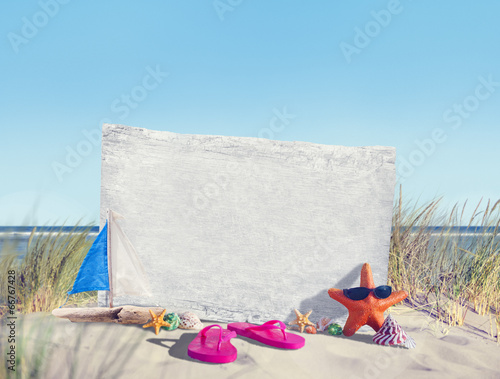 canvas print picture Empty Signboard  and Summer Props on Beach
