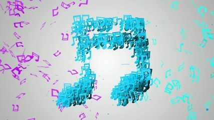 Blue Musical Note Particles Loop Animation