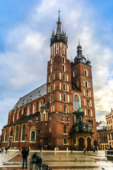Krakow old city at night St. Mary's Church. Krakow Poland.