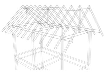 my artwork drawing roof structure house on white background
