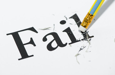 "white paper was erasing  by the pencil at the word ""fail"""