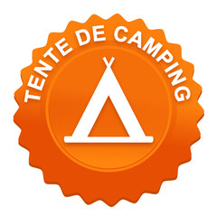 tente de camping sur bouton web denté orange