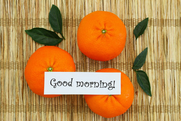 Good morning card with mandarines on bamboo mat