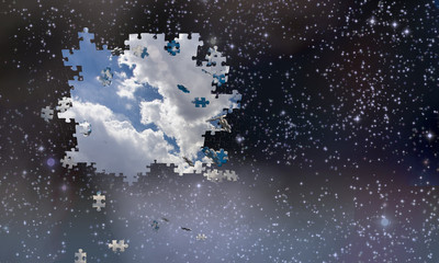 Puzzle pieces fall from night sky revealing day