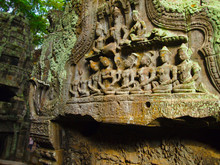 the mural on the walls of the temple of Angkor Wat in Cambodia