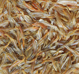dried small fishes for cooking.