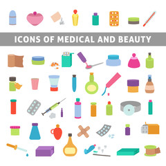 flat icons for medicine and beauty