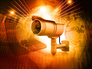 Surveillance camera with digital world.