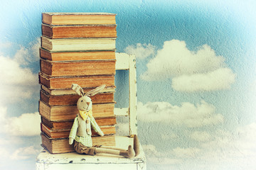 Vintage background with old books and bunny toy