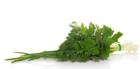 Green onions, parsley and the dill