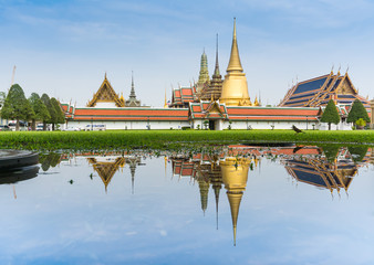 Landscape of Emerald Buddha temple and reflection