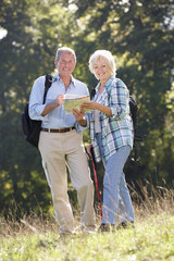 Senior couple on country walk
