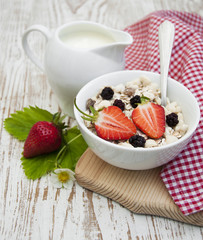 grain muesli with strawberries