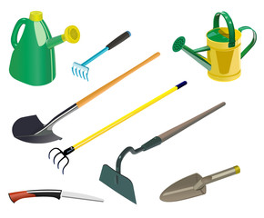 Vector format of small set of various garden tools