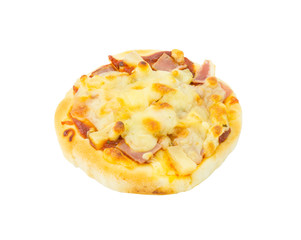 hawaiian pizza on white background.