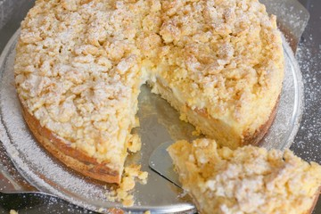 Slice of fresh home made apricot cake or tart